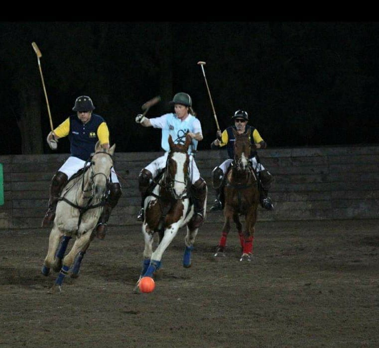 polo players playing arena polo at night